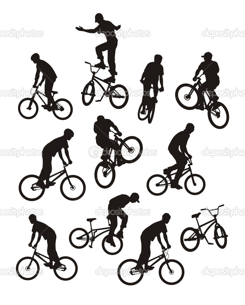 Vector composition with silhouettes of bicyclists. Only ten silhouettes of black colour. Near to them a bicycle silhouette. — Stock Vector #2228675