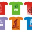 T-shirts with bicyclists 2 — Stockvektor