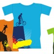 T-shirts with extreme sports 3 — Stockvectorbeeld