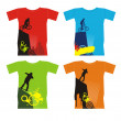 T-shirts with extreme sports 4 — Stock Vector
