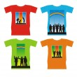 T-shirts with silhouettes of children — Stock Vector