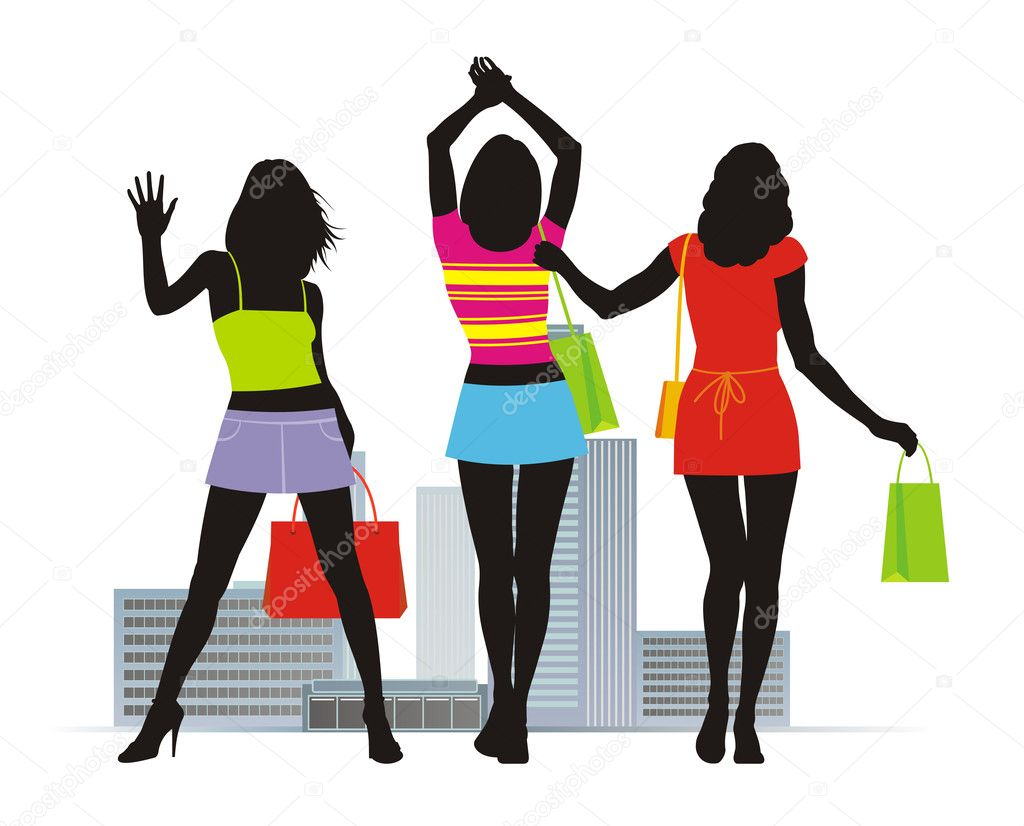 Composition with three female figures. In hands at them bright packages with purchases. On a distance shot a city landscape. — Stock Vector #2231865