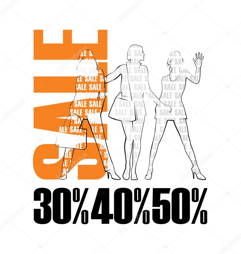 Composition with three female silhouettes. Near to them word SALE is located. Under silhouettes there are percent. — Stock Vector #2489005