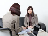 Two business women at the meeting — Stock Photo
