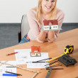 Woman architect at her work table — Stock Photo