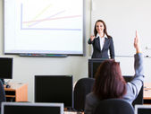 Corporate trainning - woman presenting — Stok fotoğraf