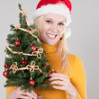 Woman with christmas tree — Stock Photo