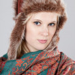 Woman with fur hat — Stock Photo