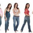 5 Young woman in jeans and various tops — Stock Photo #2461691