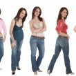 5 Young womin jeans and various tops — Stock Photo #2461691