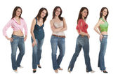 5 Young woman in jeans and various tops — Stock Photo