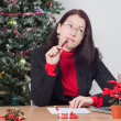 Business woman while winter holidays — Stock Photo