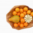 Stock Photo: Tangerines and decorative pumpkins
