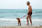 Man with dog — Stock Photo