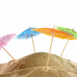 Cheerful parasols on the beach — Stok fotoğraf