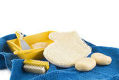 Scrubbing in yellow and blue — Stock Photo