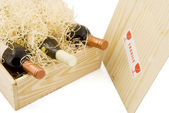 Box with wine — Stock Photo