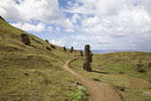 Statues at easter island — Stock Photo