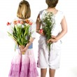Flowers from the children — Stock Photo