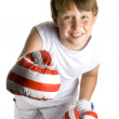 Kid is boxing — Stock Photo
