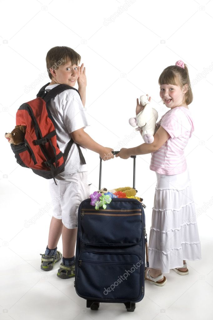 Kids on vacation with suitcase and animals  Stock Photo #2302436
