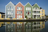 Wooden colored houses — Stock Photo