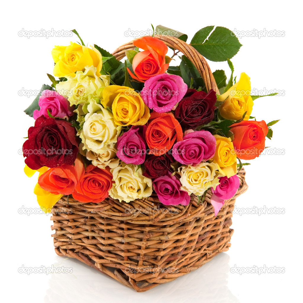 Basket with a bouquet of colorful roses isolated over white  Stock Photo #2428553