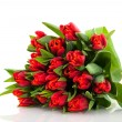 Bouquet red tulips — Stock Photo