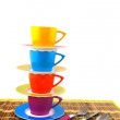 Colorful crockery for the camping — Stok fotoğraf