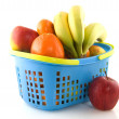 Shopping basket with fresh fruit - Stock Photo
