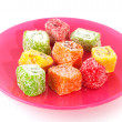 Turkish delight on pink plate — Stock Photo #2445283