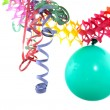 Balloon with party streamers — Stock Photo