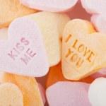 amo-te e beija-me doces corações — Foto Stock