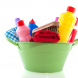 Bucket with cleaning products — Stock Photo #2448971
