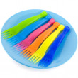 Plastic plate with forks — Stock Photo