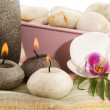 Wellness in gray with orchid - Stock Photo