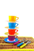 Colorful crockery for the camping — Stock Photo