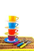 Kamp için renkli çanak çömlek — Stok fotoğraf