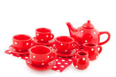 Red spotted crockery — Stok fotoğraf