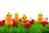 Dekorace tráva s květinami — Stock fotografie
