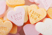 Love you candy hearts — Stock Photo