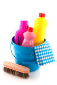 Cleaning in blue with liquids — Stock Photo