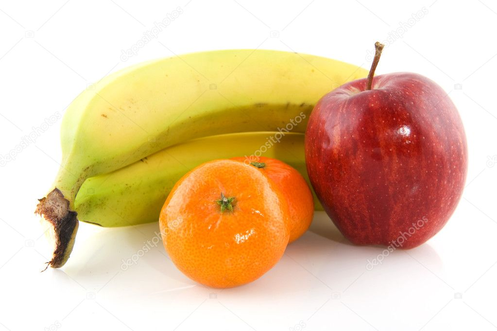 Fresh daily fruit with bananas apple and tangerines — Stock Photo #2443925