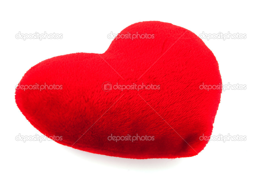 Red plush pillow for my Valentine isolated over white — Stock Photo #2448147
