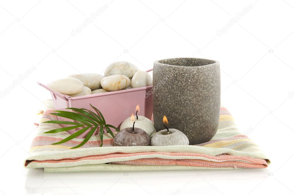 Wellness in gray and pink with burning candles — Stock Photo #2449693