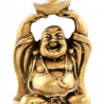 Funny golden Buddha — Stock Photo