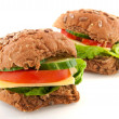 Healthy whole meal sandwiches — Stock Photo