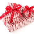 Presents in red and white - Stock Photo
