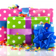 Colorful presents for birthday - Stock Photo