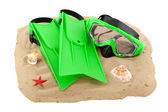 Diving equipment on the beach — Stock Photo